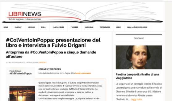 #ColVentoInPoppa: mia intervista su Librinews.it