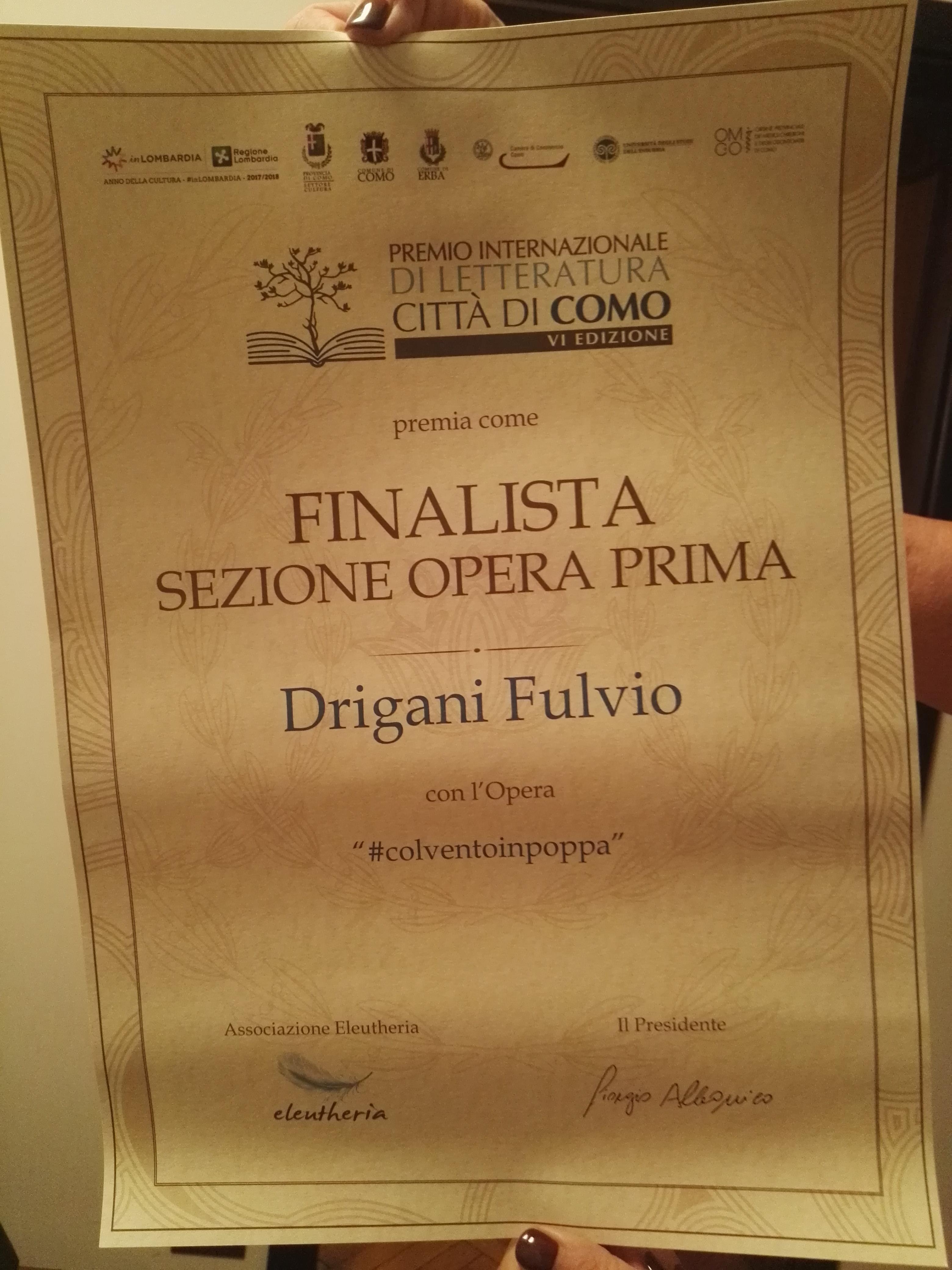Ho ricevuto il diploma di finalista al Premio Letterario Città di Como, sezione Opera Prima!